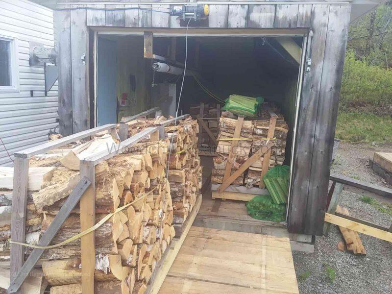 Kiln drying firewood 2 cords.