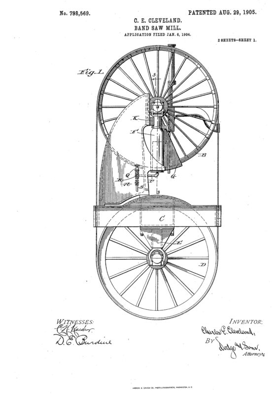 1904 Illustration of patent for a band saw mill