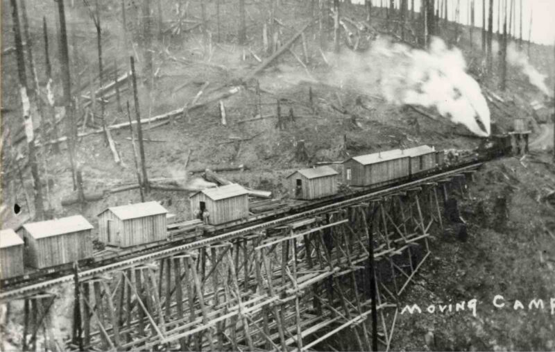 A train hauls timber camp buildings across a trestle in the woods on the way to the next harvesting site.