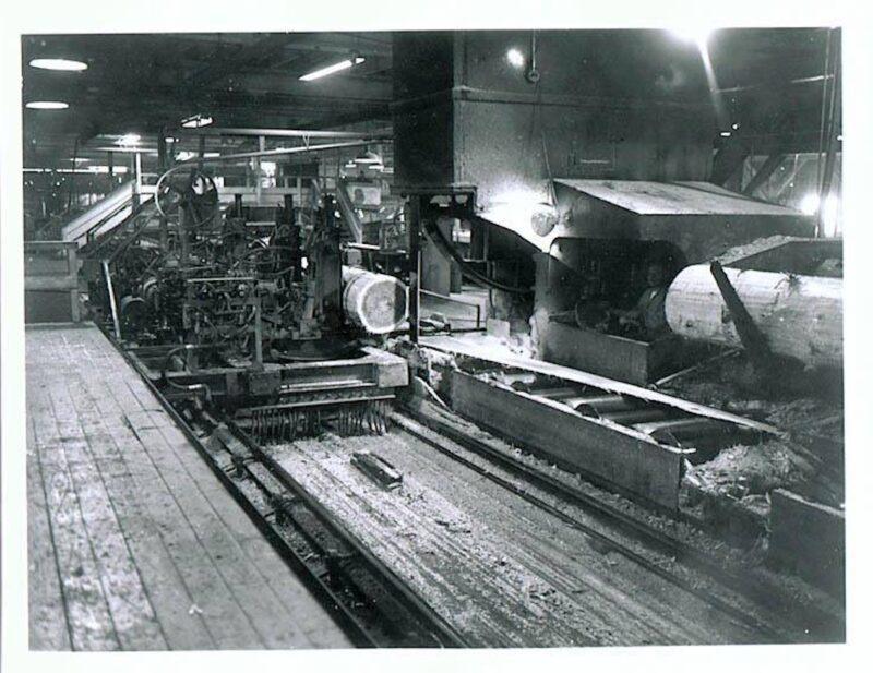 Steam powered head rig, carriage and log turner at Potlatch Idaho sawmill.