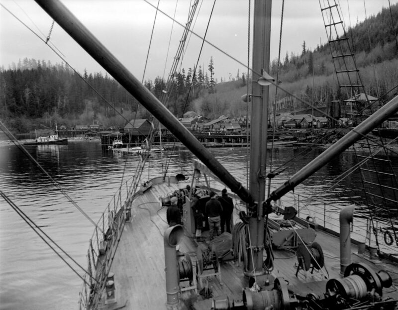 1945 Boat approaching Pacific Mills dock on the Queen Charlotte Islands