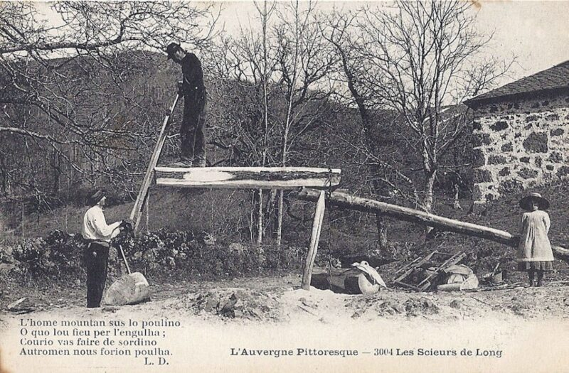 Carpenters using a saw pit frame to make lumber.