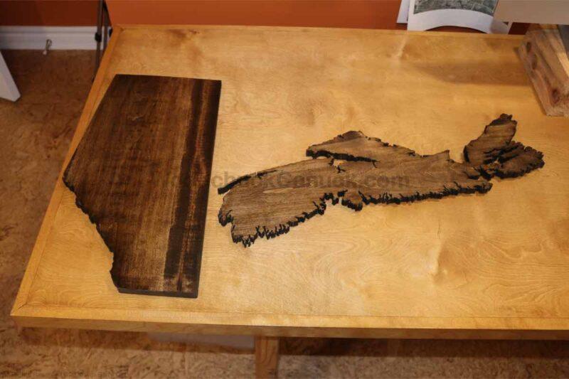 wood map of Alberta,wood map of NS, scroll saw wood map,diy,diy wood map
