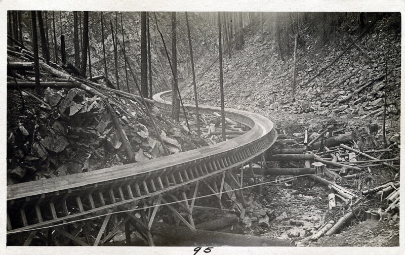 Early days of Rochat Creek flume use.