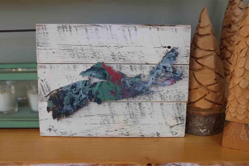 Scrollsawn wood map of Nova Scotia No. 91. 8 x 10.5 inches