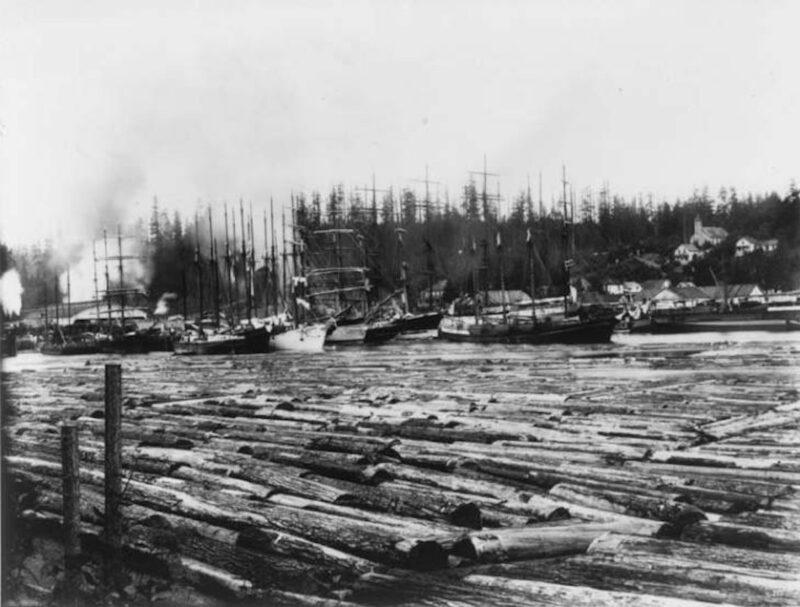 1890 Ships moored at Port Blakely, Washington.