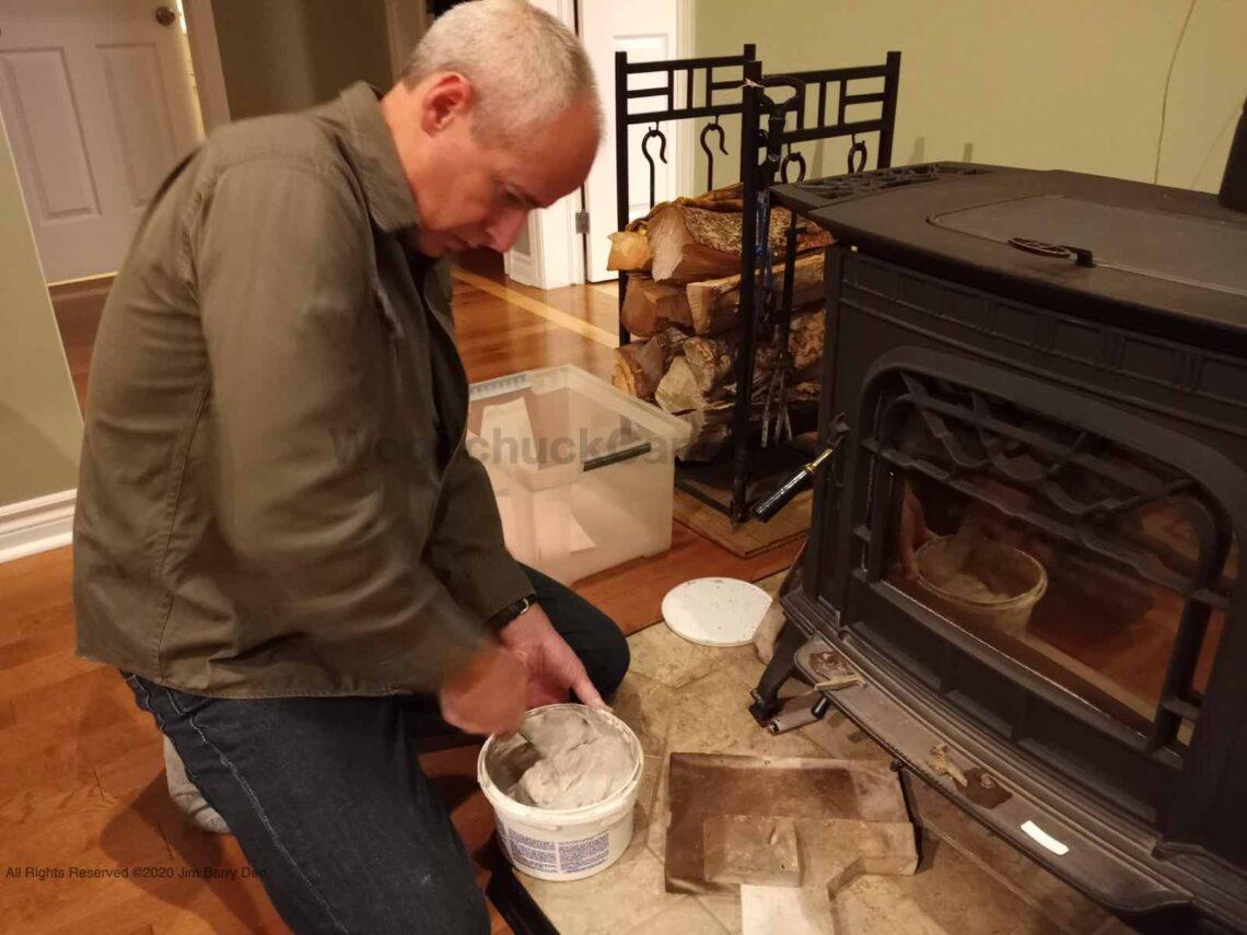 Harman wood stove fire box brick repair