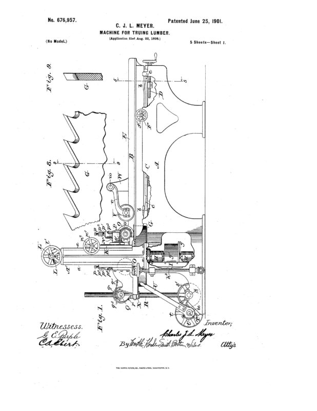 1898 Illustration if patent of machine for trueing lumber