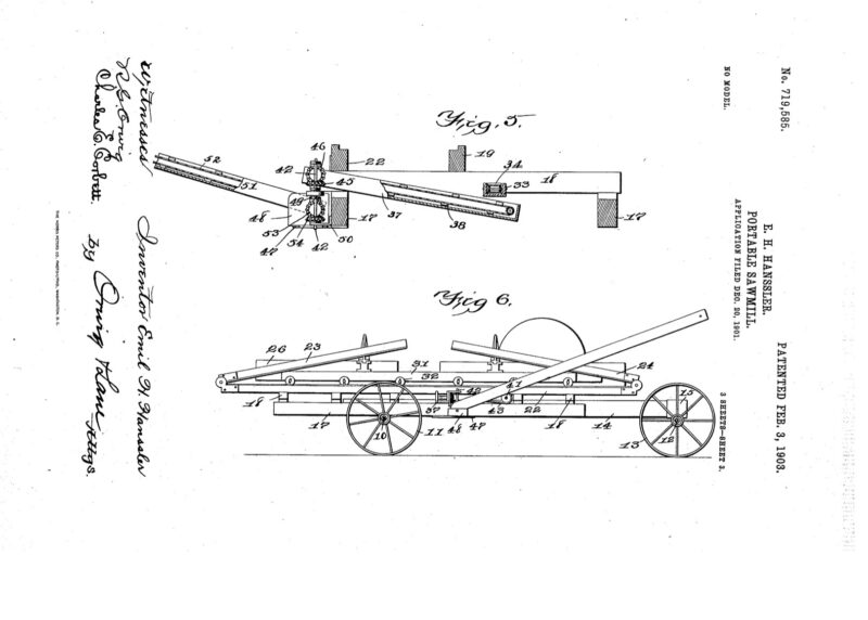1901 Portable Saw Mill patent - Emil H. Hanssell