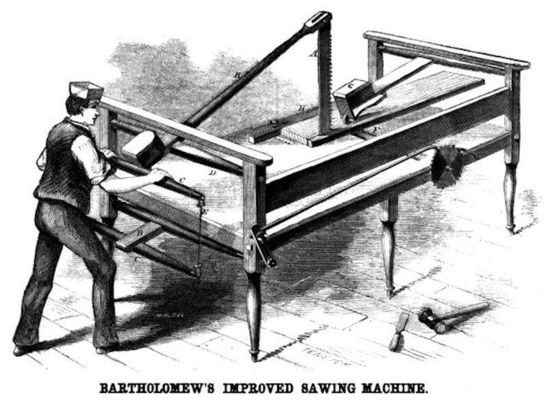 1861 Bartholomew's improved sawing machine