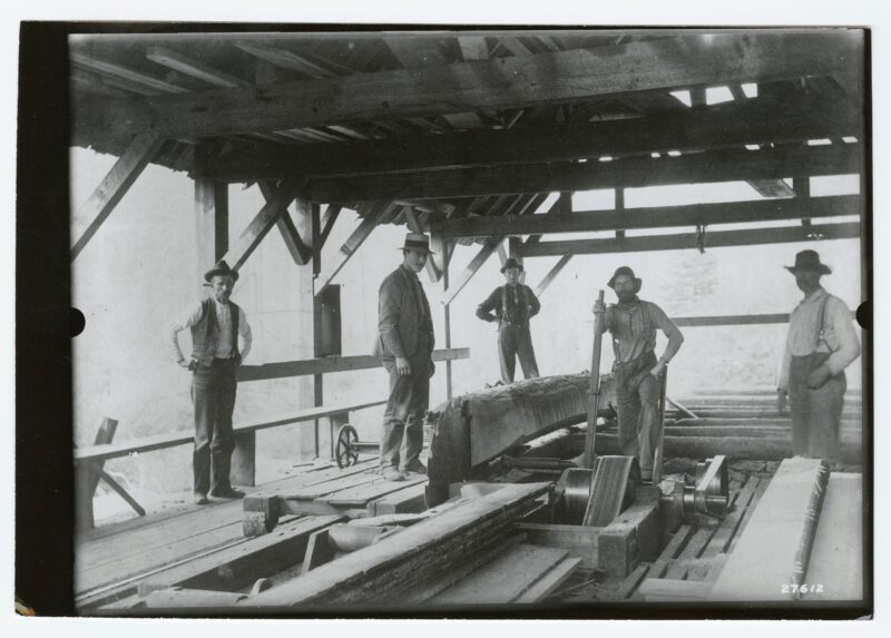 1900 five men under the roof of a saw mill