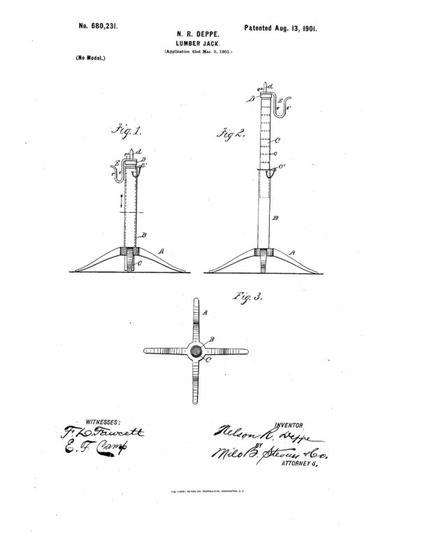 1901 Patent illustration of a lumber jack.