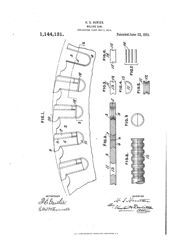 1914 Illustration of patent for a Milling Saw Blade