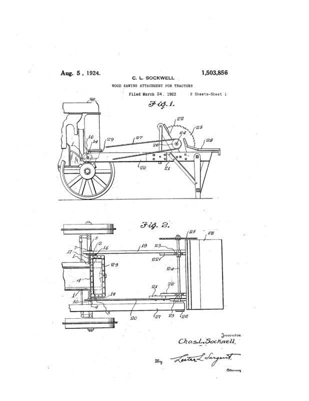 1923 Illustration of patent of wood sawing attachment for tractor