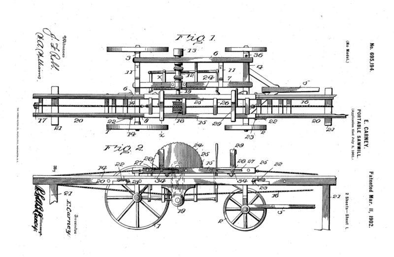 1901 patent 695194 E. Carney Portable Sawmill