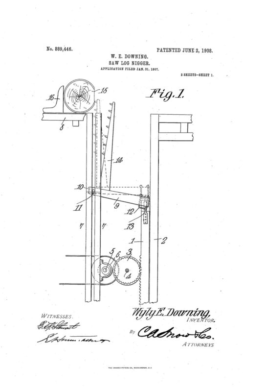 1907 patent 889446 WE Downing Saw Log Nigger