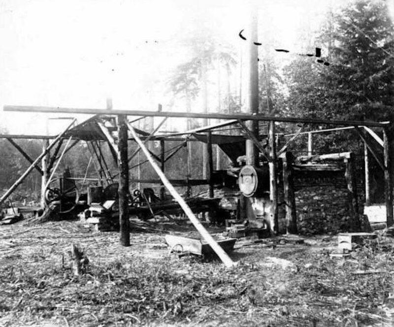 Vashon Island, WA. 1899 Edward J. Mace sawmill under construction.