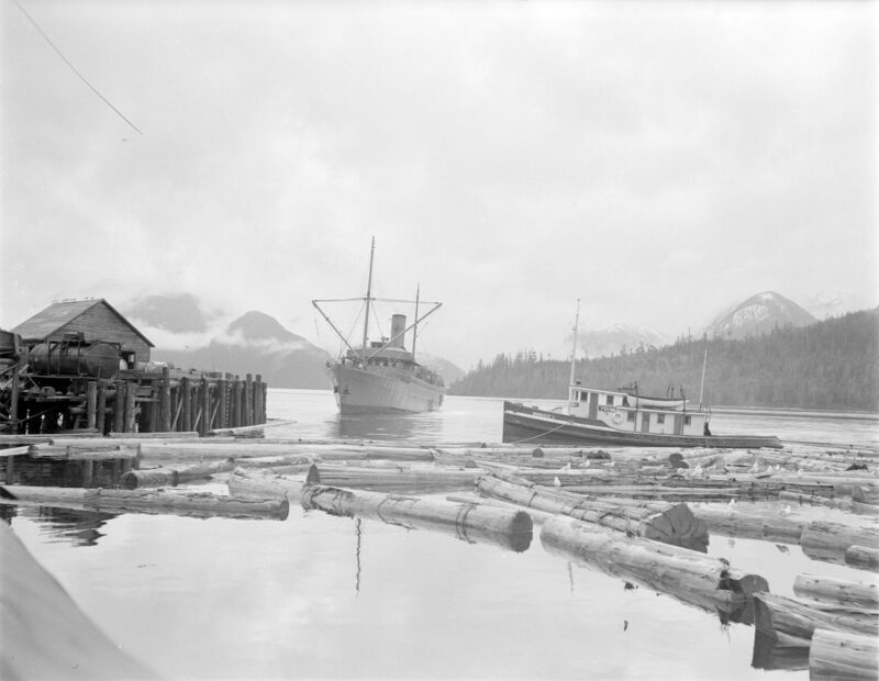 "1945 The ""Camosun"" approaching Pacific Mills dock on the Queen Charlotte Islands."