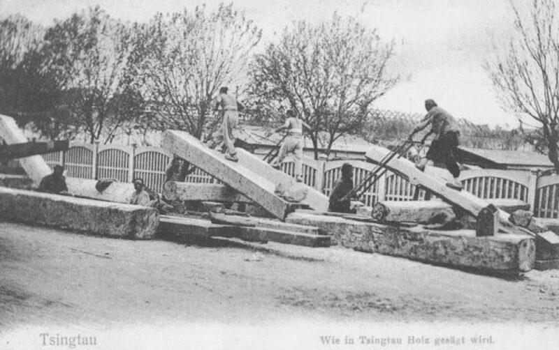 1900 Postcard of Chinese sawyers