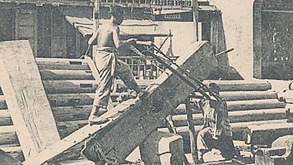 1900 China postcard - small Chinese pedlars, wood-sawyers.