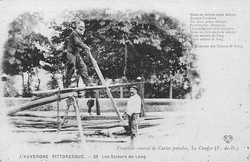 A post card featuring two sawyers with a saw pit frame.