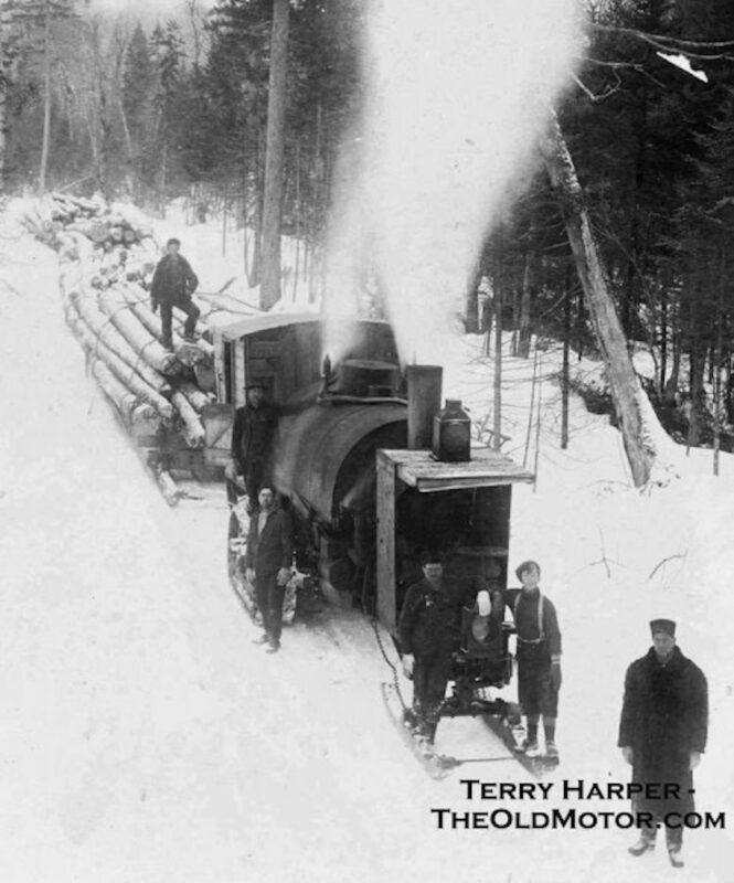 Lombard Steam Log Hauler and its crew deep in the woods