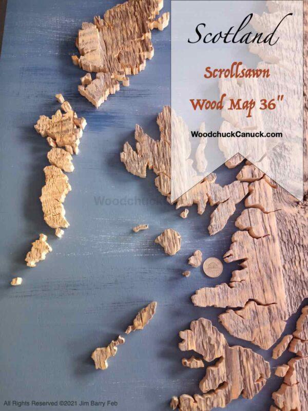 wood map of Scotland,wood map,scroll saw,diy