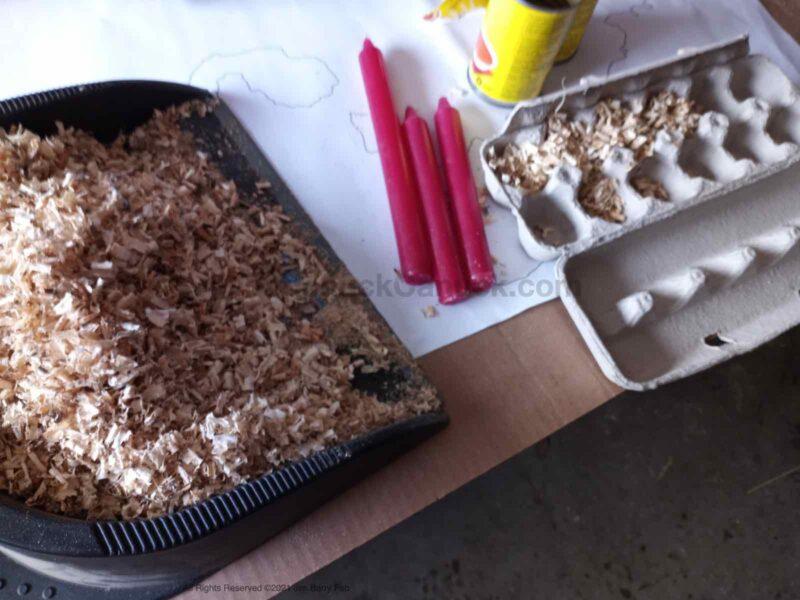 homemade wax and sawdust fire starter pucks