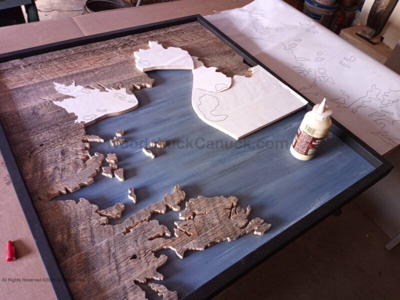 map of mahone bay,wood map,wood map of mahone bay,scroll saw,diy,
