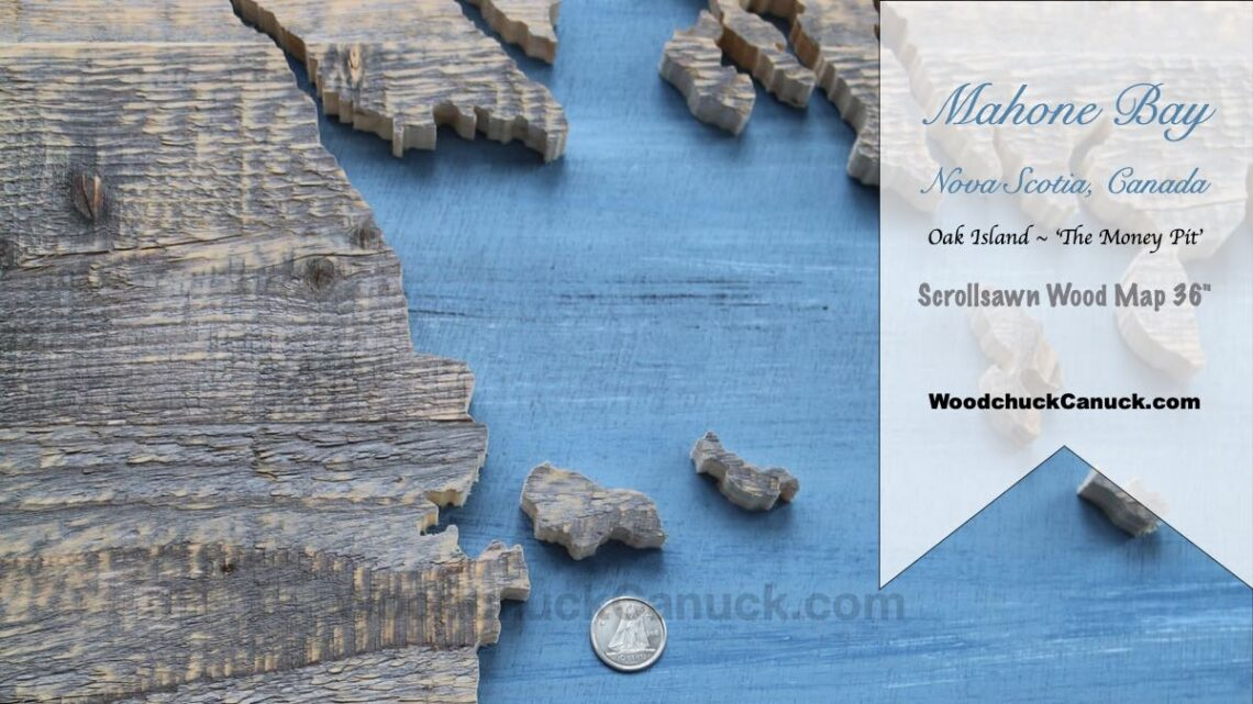 wood map of mahone bay,mahone bay map,wood map,diy,scroll saw map,