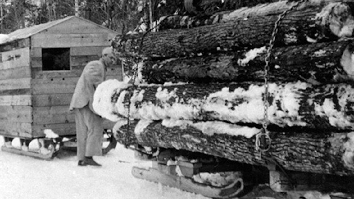 1940 Another means of hauling logs in the La Blanche Lake district.
