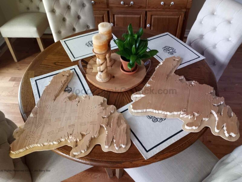 Complete wood map crib boards of Newfoundland