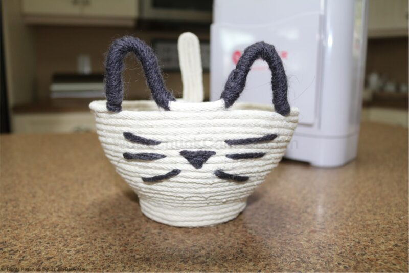 rope bowl,cat face rope bowl,crafts,hot glue rope bowl,