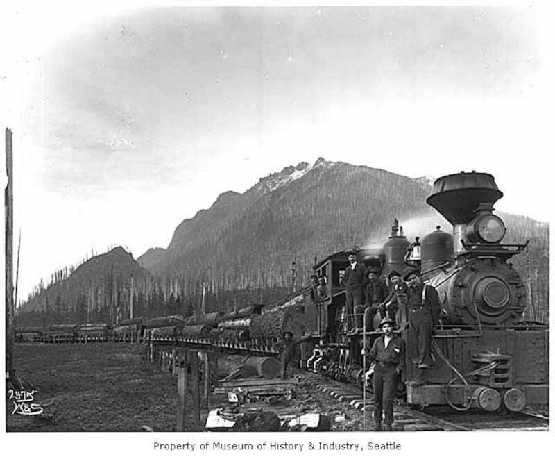 1904 Logging train near Mt. Si, North Bend, WA.