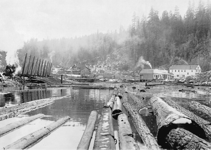 1900s Rock Bay from the boom of logs.