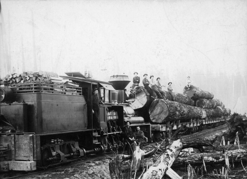 1900s Sultan Railway and Timber Company train with logs and crew.