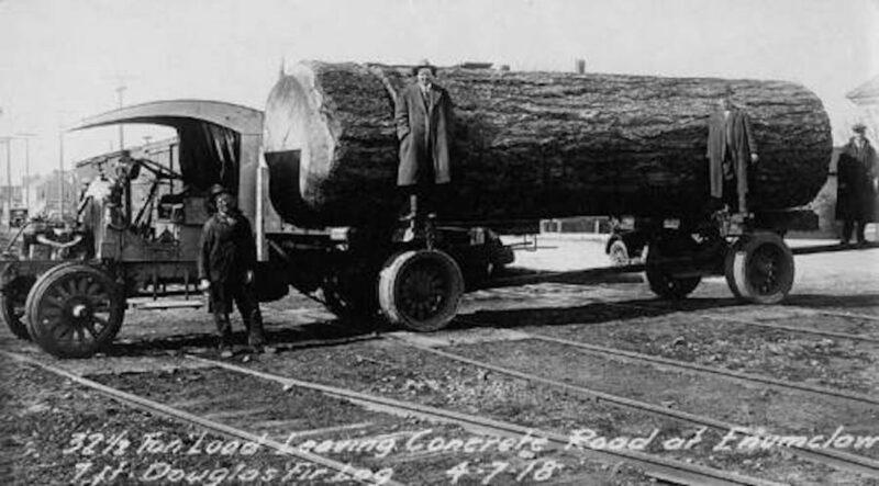 1918 April 07 log truck leaving Concrete Road at Enumclaw, WA.