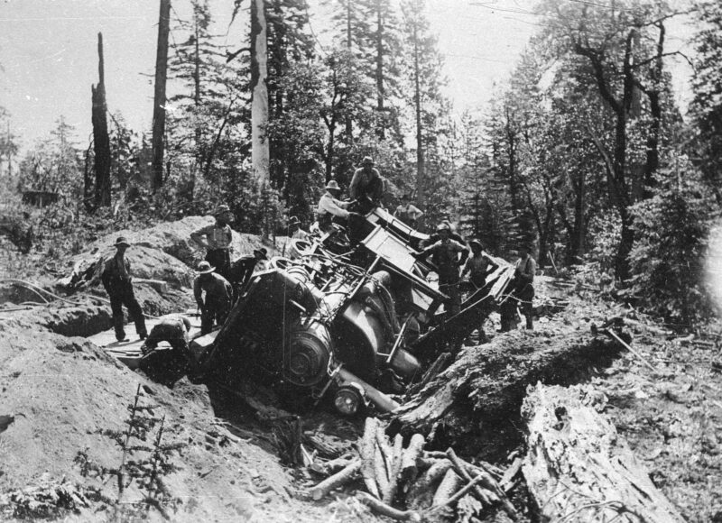 1910 Wrecked locomotive on Meter Gauge Railroad.