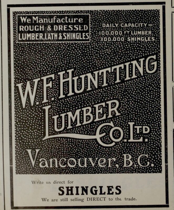 1908 WF Hunting Lumber Co Ltd