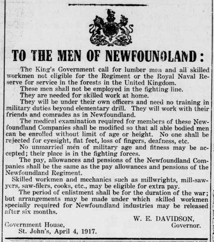 Forestry Corps, Evening Telegram Apr 7, 1917, Newfoundland.