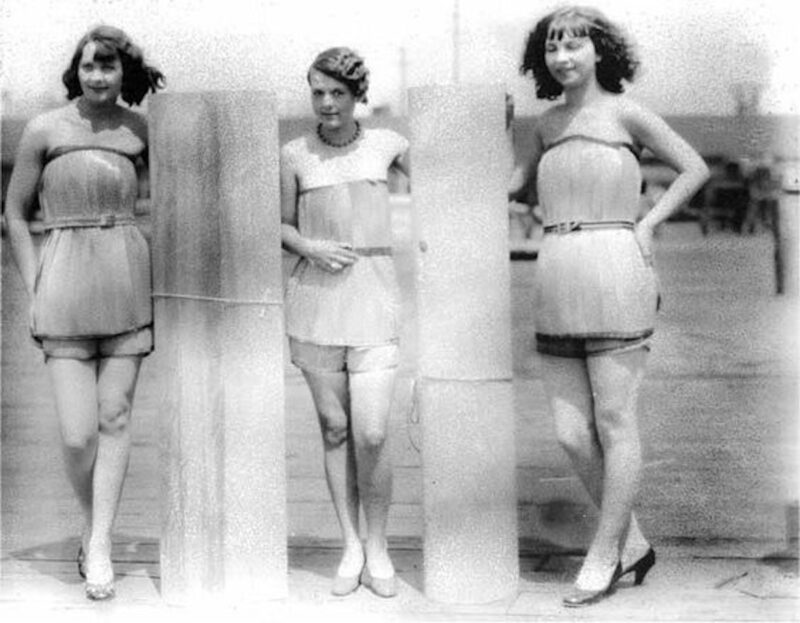 1929 wooden bathing costumes.