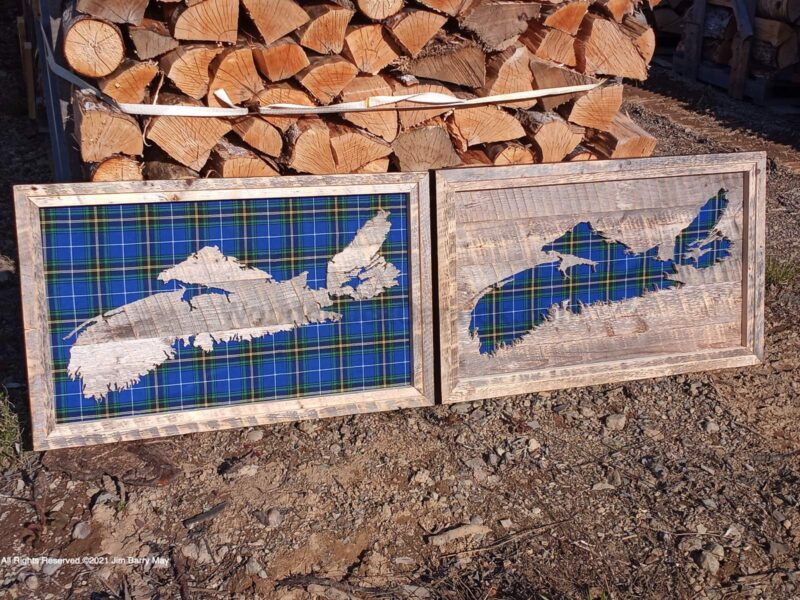 "A mating set of Nova Scotia tartan wood maps. #20210516, size about 32x16"" each. (SOLD)"