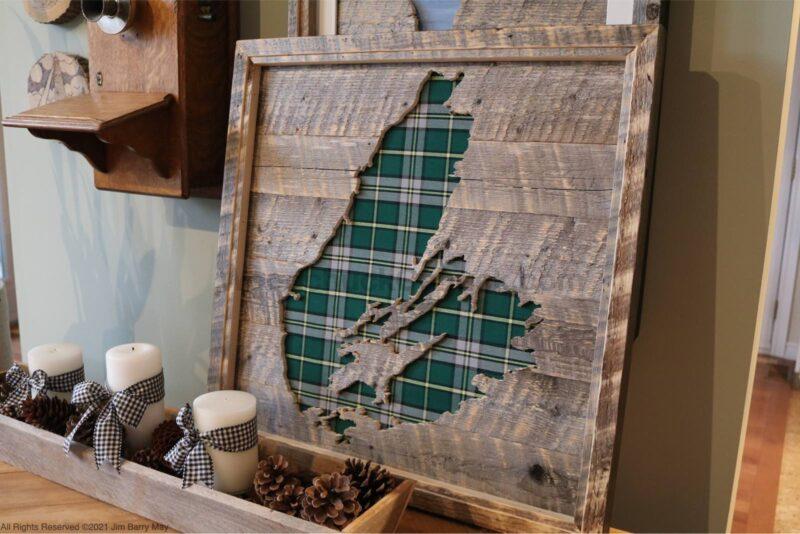 24 x 24 inch wood map of Cape Breton