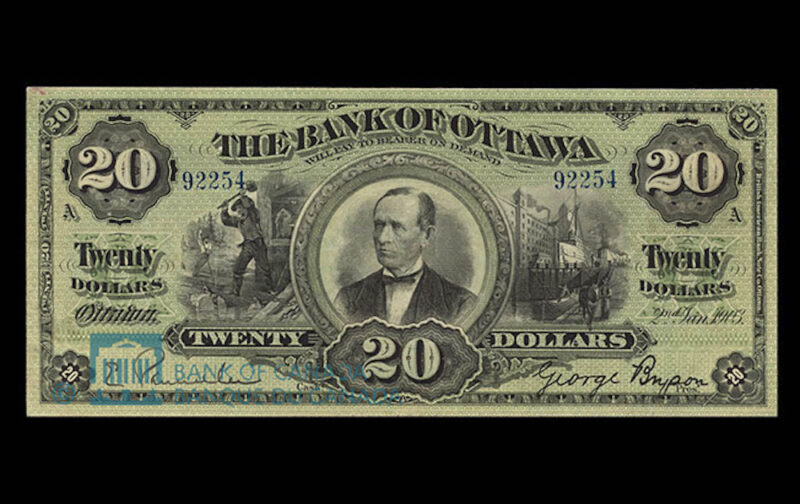 1903 Twenty-dollar bank-note issued by the Bank of Ottawa.