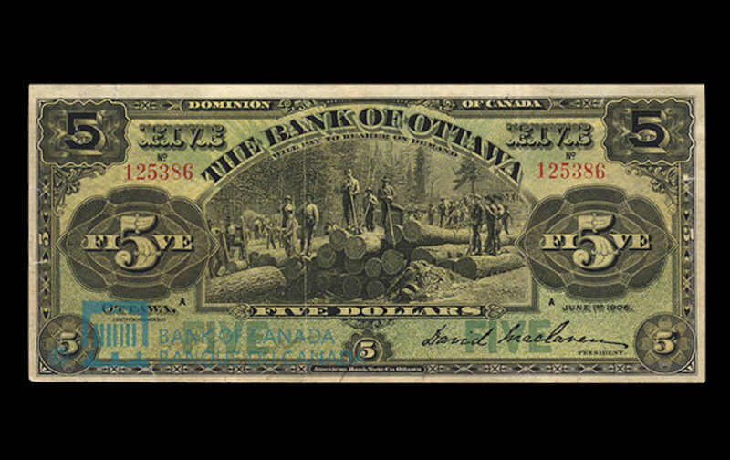 1906 Five-dollar bank-note issued by the Bank of Ottawa.