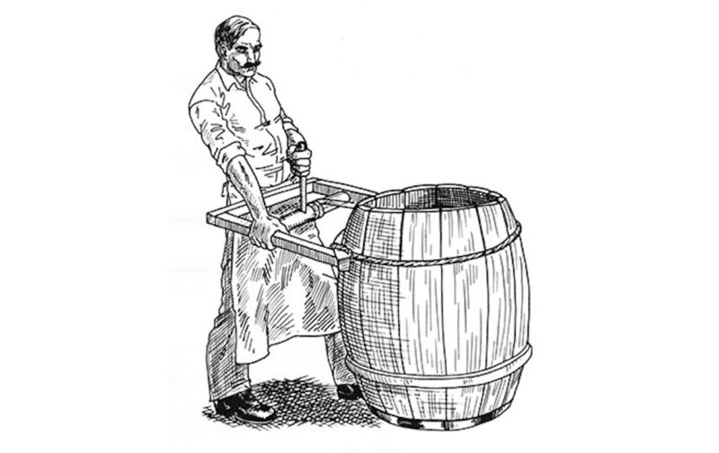 Sketch of a cooper tightening the staves of a barrel.