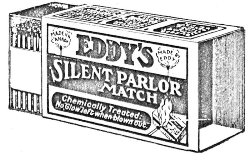 1919 Drawing illustrating an E.B. Eddy Company Silent Parlor Match match-box