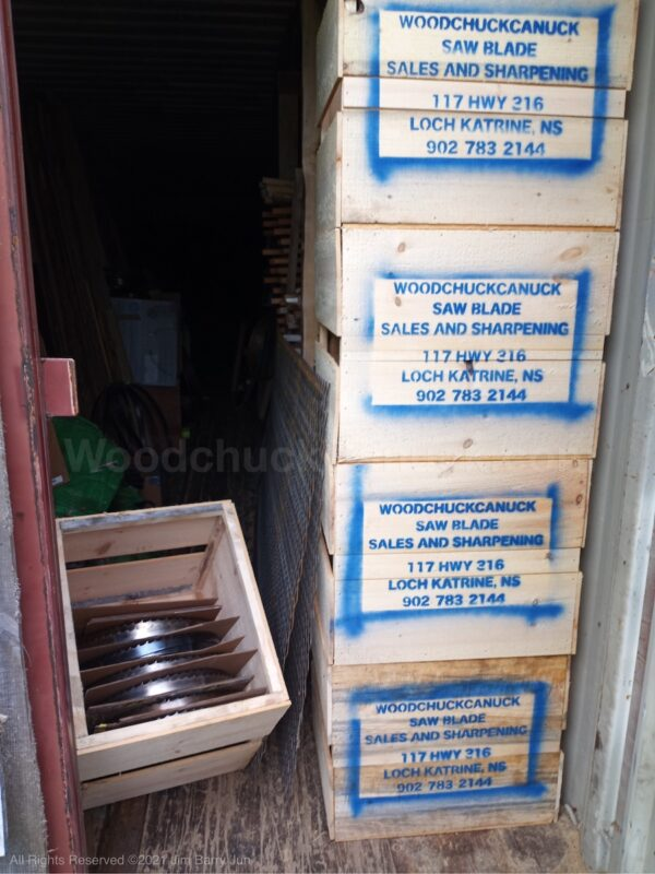 Saw mill blade wooden boxes