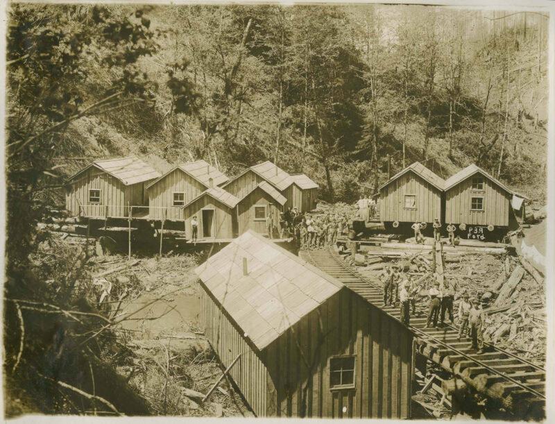 Logging camp with rail way.