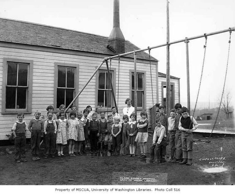 1940 Children and teacher outside of school building, camp 5, Simpson Logging Company, Grays Harbor County.